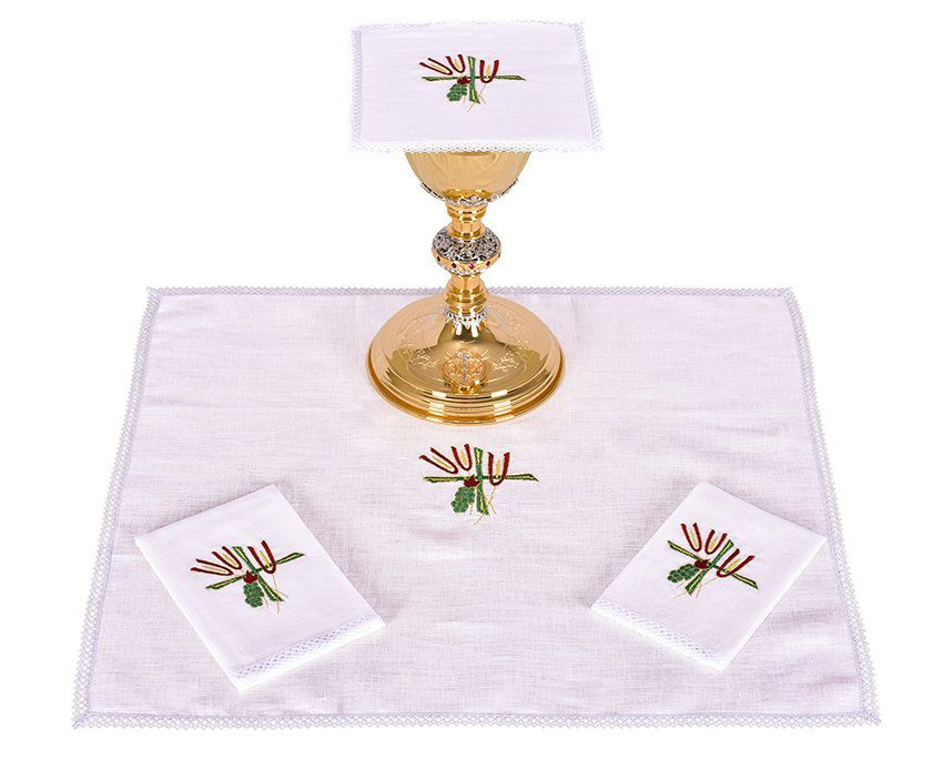 Conjunto de Altar Linho Trigo Cruz e Uva B007
