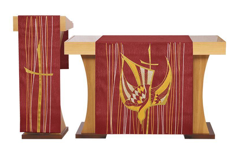 Conjunto Véu de Altar e Estante Pentecostes Vermelho S202 S203