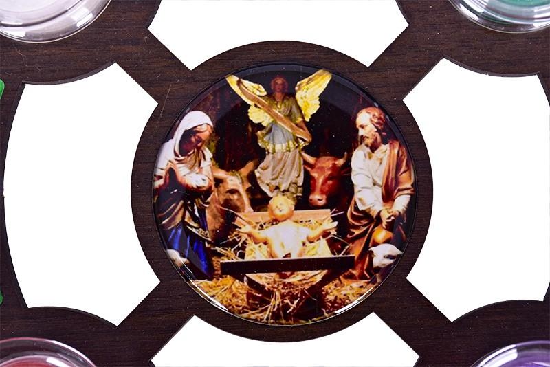 Coroa do Advento da Família em MDF 21,5 cm