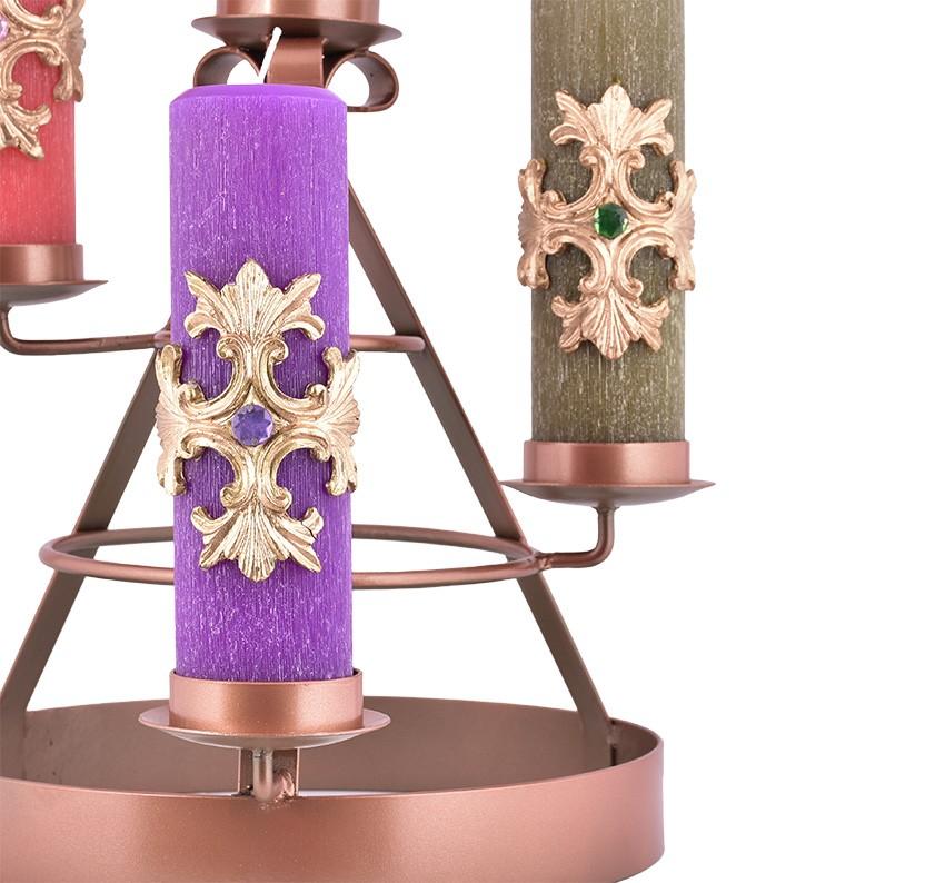 Coroa do Advento Ferro Bronze 45 x 35 cm