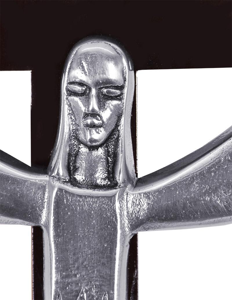 Crucifixo de Madeira 48 cm com Cristo em Alumínio 4822