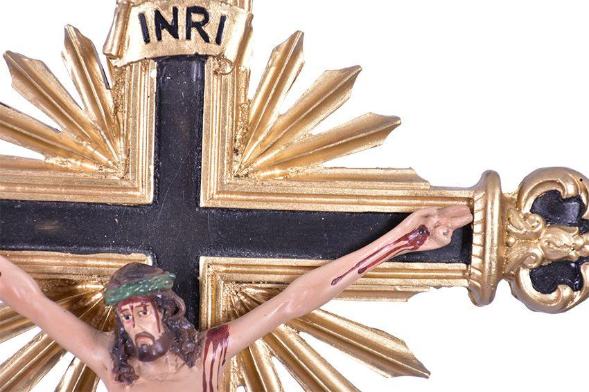 Crucifixo de Mesa Ornado Resina 59 cm