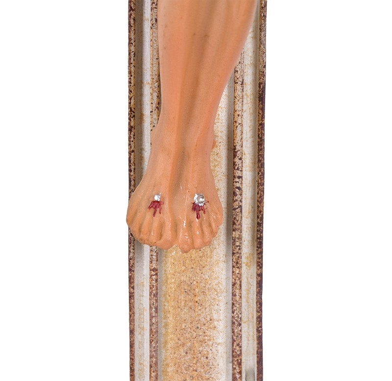 Crucifixo de Mesa Ornado Resina Bege 59cm