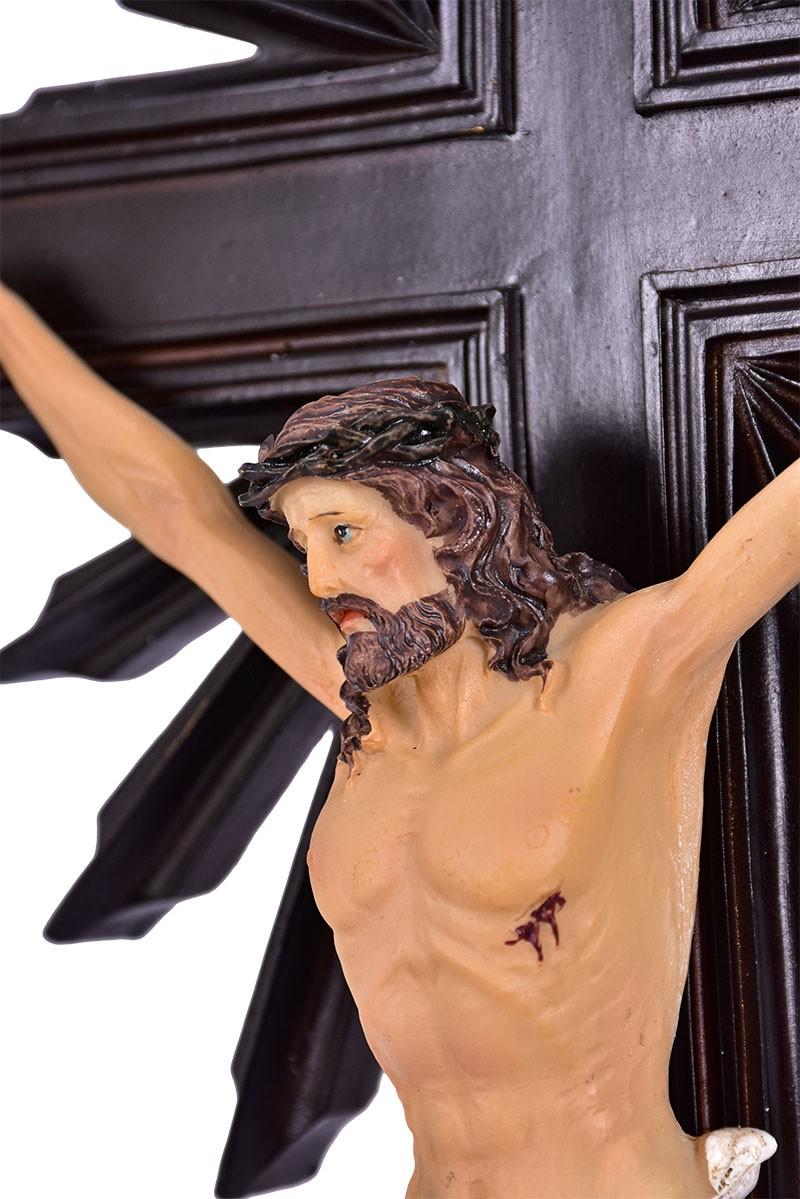 Crucifixo de Mesa Ornado Resina Tabaco 59cm
