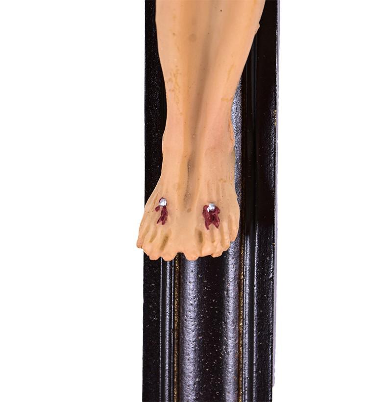 Crucifixo de Parede Ornado Resina Tabaco 46cm