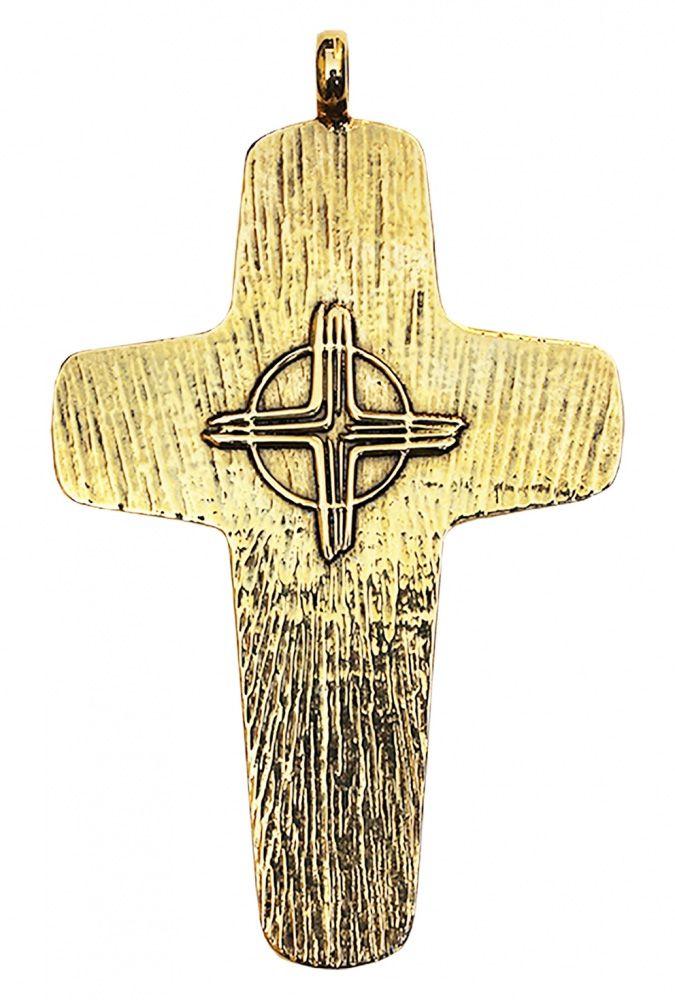 Cruz Peitoral Prata Dourada F8
