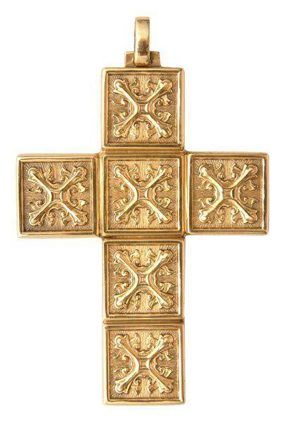 Cruz Peitoral de Prata Maciça Quadrado Estilizados banhado a Ouro CP3046
