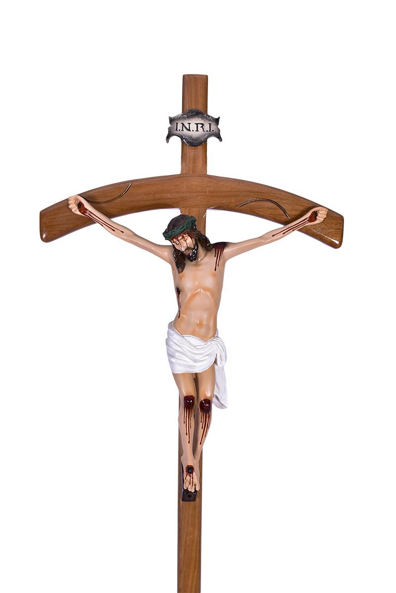 Cruz Processional Madeira Alfa e Ômega
