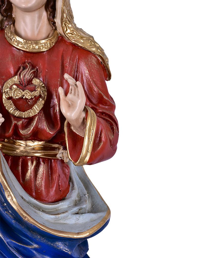 Imagem Imaculado Coração de Maria Resina 60 cm