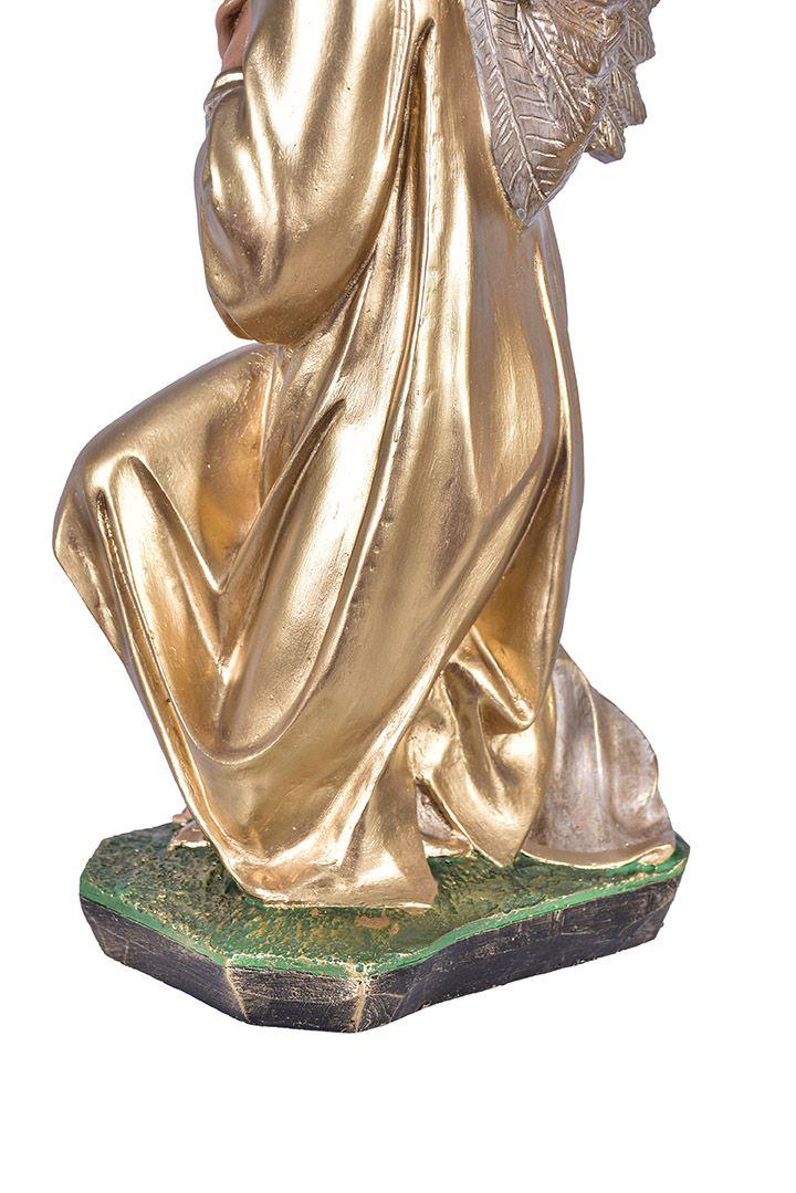 Imagem Par de Anjos Adoradores Dourado Resina 68 cm