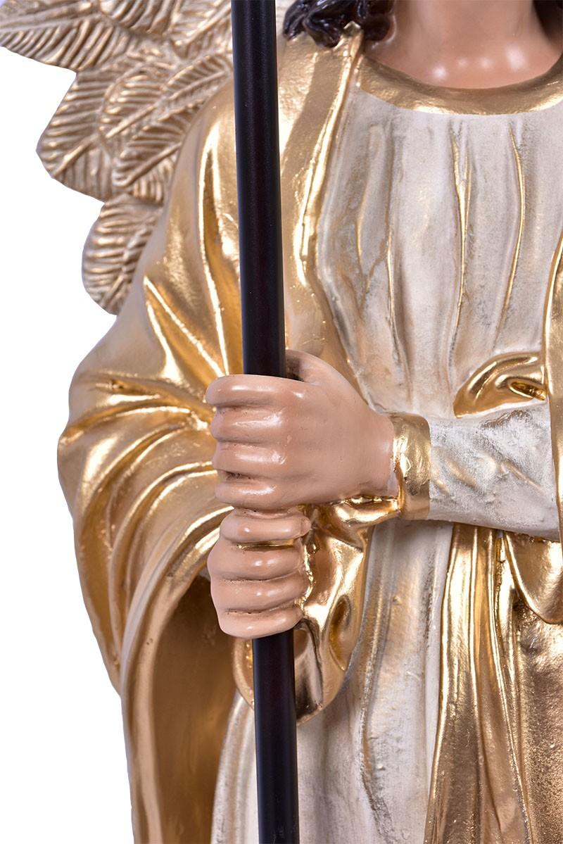 Imagem Par de Anjos com Candelabro Dourado Resina 90 cm