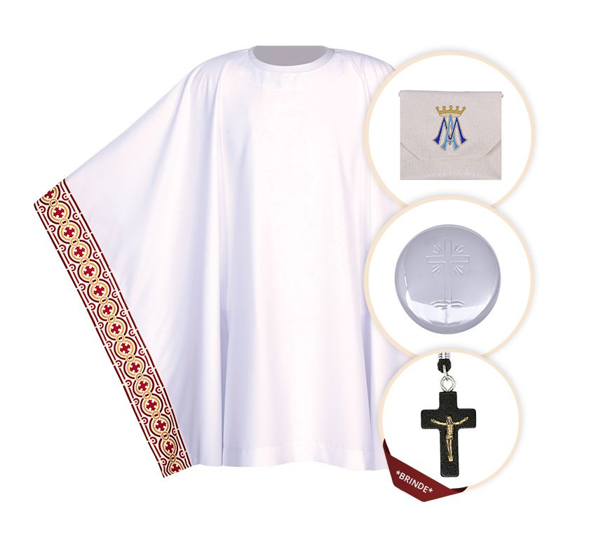 Kit Para Ministro 063 com Veste, Bolsa Viático e Teca + Crucifixo (brinde)