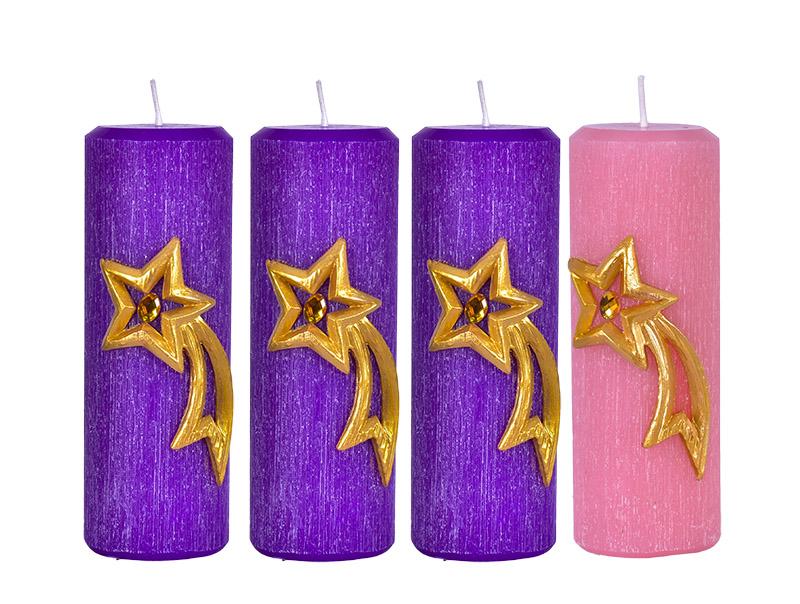 Kit Velas Advento Relevo Estrela Cadente 2 Cores 20 x 7 cm