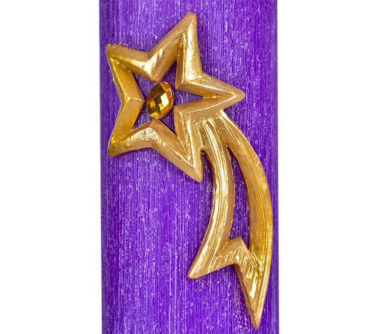 Kit Velas Advento Relevo Estrela Cadente 4 Cores 20 x 7 cm