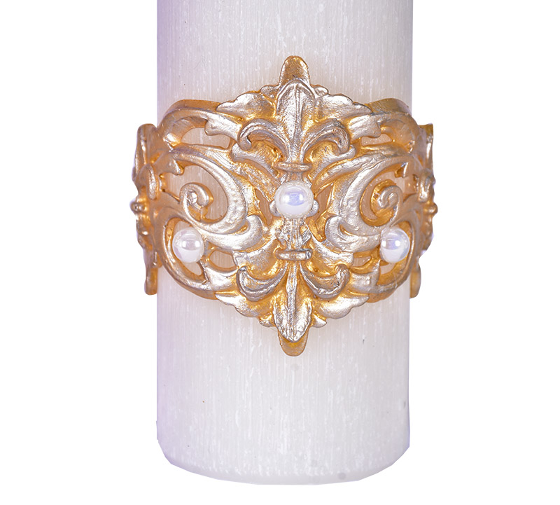 Kit Velas Advento Relevo Flor de Liz 4 Cores 20 x 7 cm