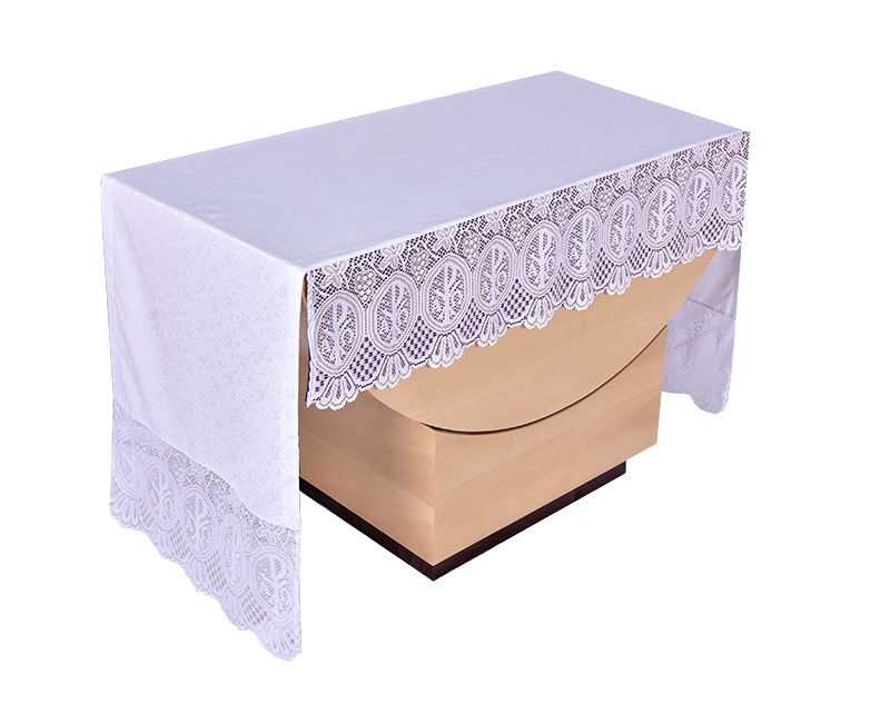 Toalha Altar 075 Frontal Renda Litúrgica PX 30cm até 4m com forro removível