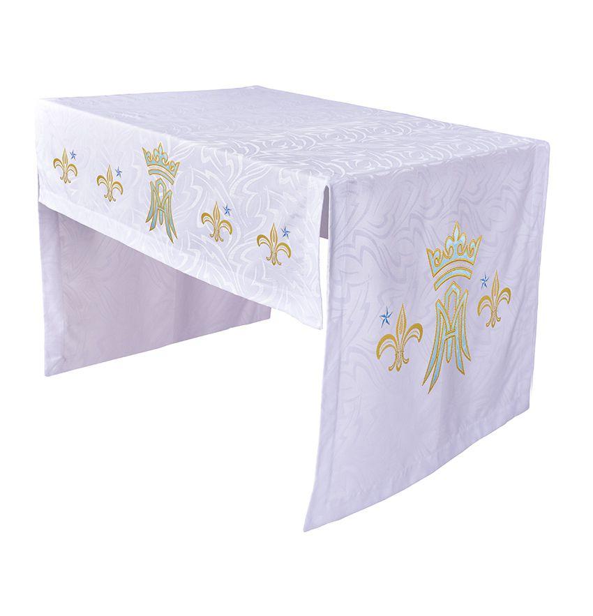 Toalha Altar 075 Bordada Frontal e Lateral Mariana TO220 Bordado 112 cm