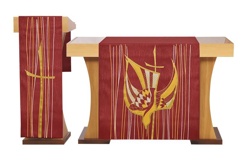 Conjunto de Véu Altar e Estante Pentecostes Vermelho S202 S203