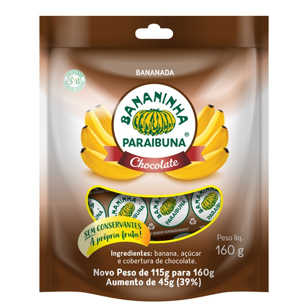 Bananinha Paraibuna Chocolate Pacote 160g