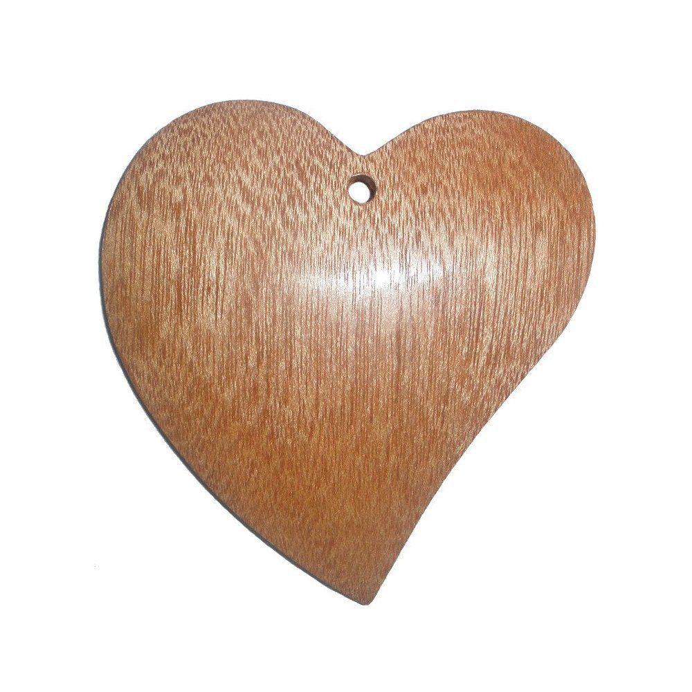Pingente Coração de Madeira - 80mm  - Nathalia Bijoux®