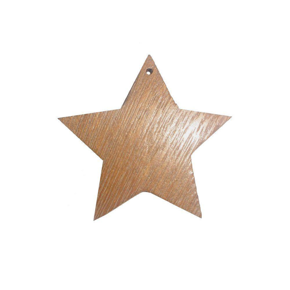 Pingente Estrela de Madeira - 48mm  - Nathalia Bijoux®