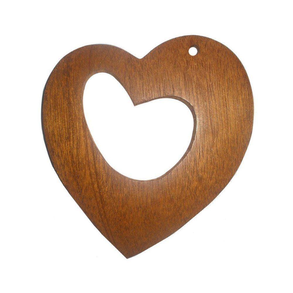 Pingente Coração de Madeira - 95mm  - Nathalia Bijoux®