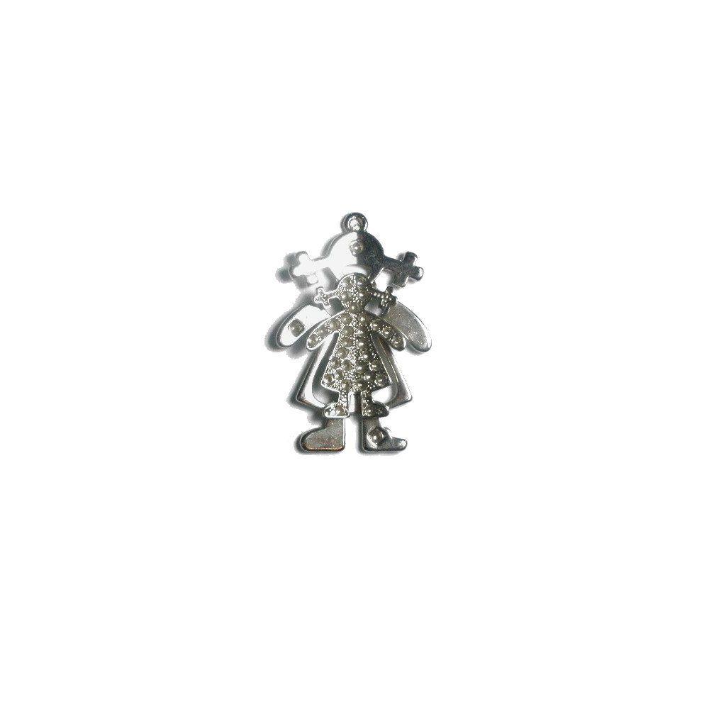 Pingente Menina de Metal - 55mm  - Nathalia Bijoux®