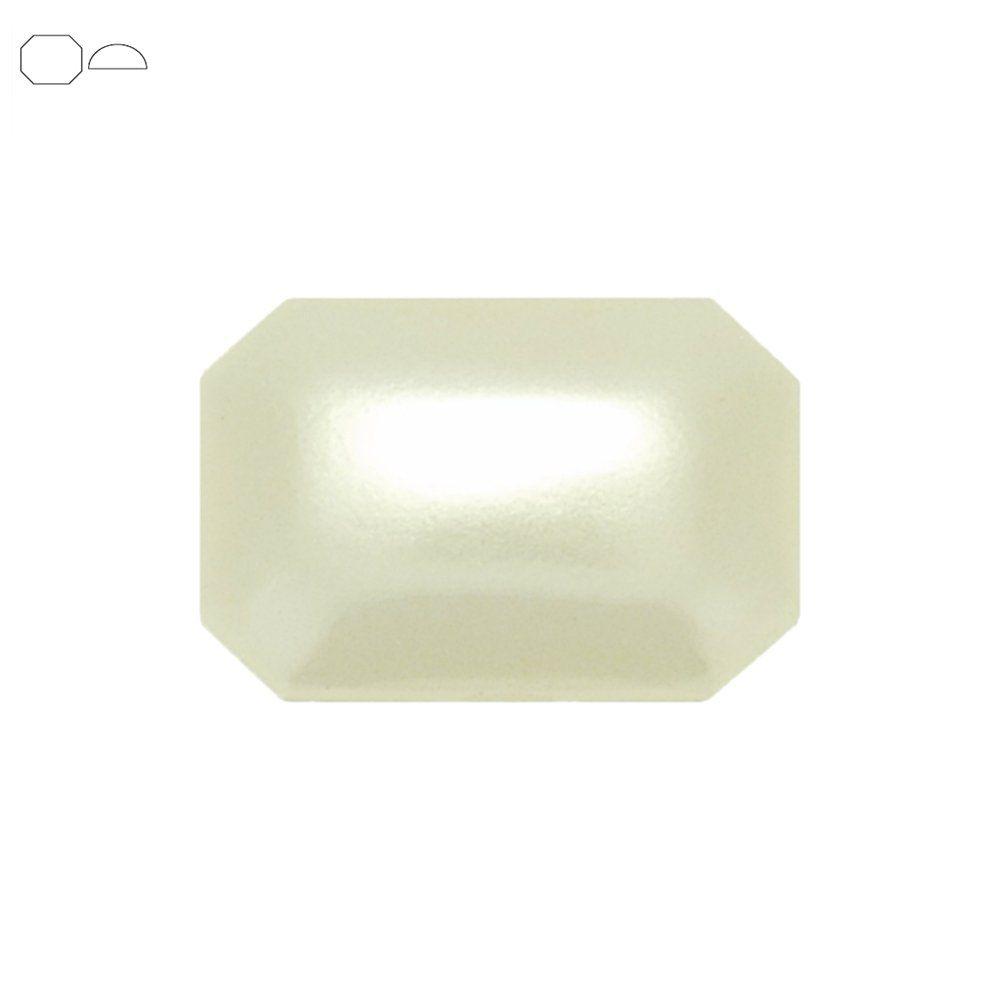 Chaton Meia Pérola Octogonal - ABS - Golden - 13mm x 18mm  - Nathalia Bijoux®