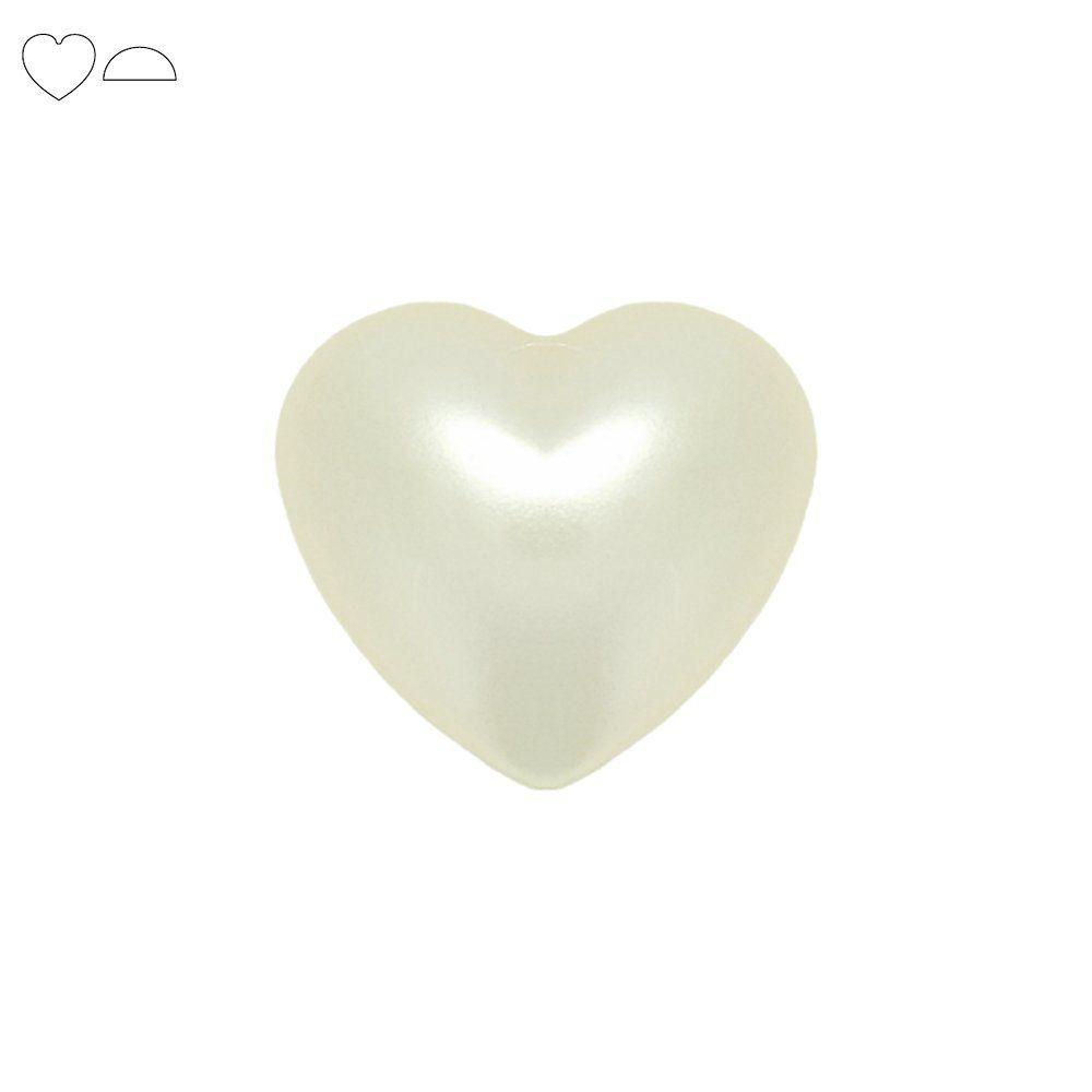 Chaton Meia Pérola Coração - ABS - Golden - 10mm x 10mm  - Nathalia Bijoux®