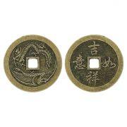 Pingente Moeda Oriental de Metal - 46mm