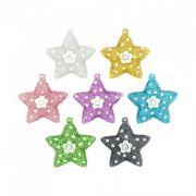 Pingente Estrela com Flor de Acrílico com Glitter e Strass - 36mm
