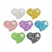 Pingente Coração com Estrela de Acrílico com Glitter e Strass - 26mm