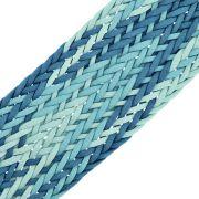 Cordão Encerado Trançado - Azul Mesclado - 50mm - 10m