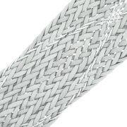 Cordão Encerado Trançado com Lurex - Cinza com Prata - 50mm - 10m