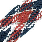 Cordão Encerado Trançado com Lurex - Marinho com Vermelho, Branco e Prata - 50mm - 10m