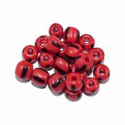 Miçanga 6/0 - Vermelho com Preto - 50g