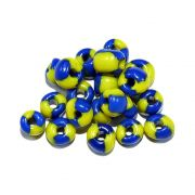 Miçanga 6/0 - Amarelo com Azul Royal - 50g