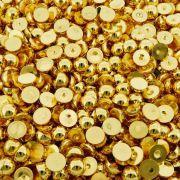 Chaton Meia Pérola Redondo - ABS - Dourado Metalizado - 12mm - 500g