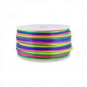 Cordão de Seda Acetinado - Color Mix Neon - 2mm - 50m