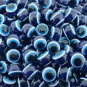 Entremeio Bolinha Olho Grego de Plástico - Azul Royal - 18mm - 10pçs