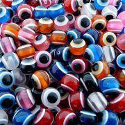 Entremeio Bolinha Olho Grego de Plástico - Variado - 14mm - 100pçs