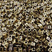Entremeio Conta com Letras de ABS - Ouro Velho - 6mm - 250g