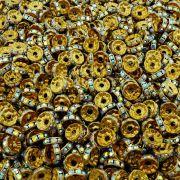 Entremeio Rondelle de Metal - Dourado com Cristal Boreal - 10mm - 100pçs