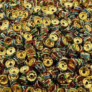 Entremeio Rondelle de Metal - Dourado com Colors - 10mm - 100pçs