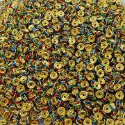 Entremeio Rondelle de Metal - Dourado com Colors - 4mm - 100pçs