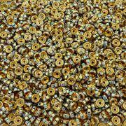 Entremeio Rondelle de Metal - Dourado com Cristal Boreal - 6mm - 100pçs