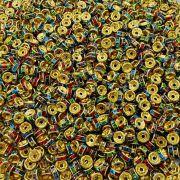 Entremeio Rondelle de Metal - Dourado com Colors - 6mm - 100pçs