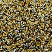 Entremeio Rondelle de Metal - Dourado com Cristal Boreal - 8mm - 100pçs