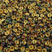 Entremeio Rondelle de Metal - Dourado com Colors - 8mm - 100pçs