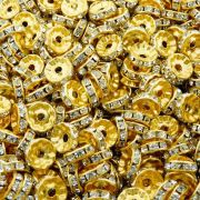 Entremeio Rondelle de Metal - Dourado com Cristal - 10mm - 100pçs